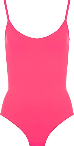 WearAll - Damen Träger Ärmellos Cami Vest Body Top - Neon Rosa - 36-38