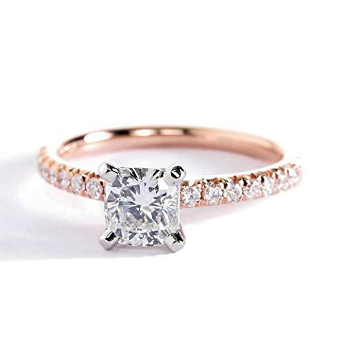 Anillo de compromiso de oro rosa de 18 quilates con diamante de corte cojín francés VS2 F de 0,70 quilates