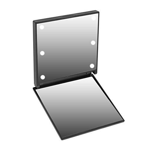 Espejo de aumento cuadrado, espejo de aumento de belleza, espejo de luz de relleno, espejo de aumento regulable, espejo de aumento compacto [negro], espejo de aumento LED, espejo de aumento, espejo de