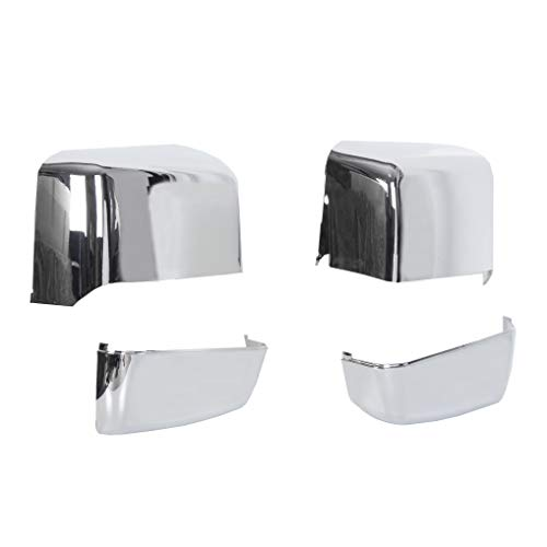 ECOTRIC NEW Pair Triple Chrome Plated Tow Mirror Cap Cover Compatible with 2014-2019 GM Chevy Silverado GMC Sierra Pickup Truck Replacement For 23444125, 23444126, 23444119, 23444120