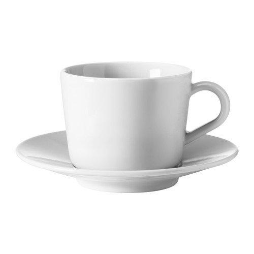 IKEA 365+ Tasse mit Untertasse; in weiß; (13cl)