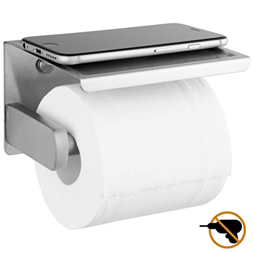 Polarduck Toilet Roll Holder, Self Adhesive Toilet Paper Roll Holder with Shelf, Wall Mounted Without Drilling, Polished Stainless Steel