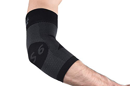 Orthoslevve ES6 - Coudiere Tendinite, Attelle de Coude Adaptée à l'Epicondylite. Technologie de Compression Exclusive sur 6 Zones, Protection Quotidienne ou Durant la Pratique du Sport, Noir, L