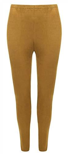 Style Wise Fashion Damen-Leggings in Wildlederoptik, einfarbig, elastische Taille, volle Länge Gr. 38-40, senffarben