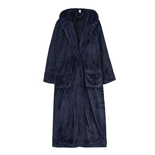 Albornoz largo para mujer, elegante, cálido, de forro polar, color coral, para viajes, dormitorio, hogar, vestidos (color: azul, tamaño: mediano)