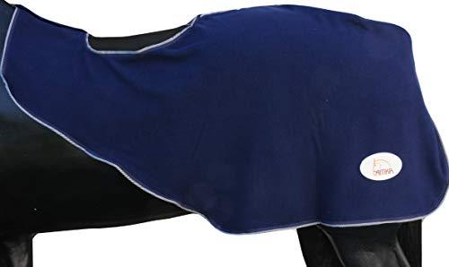 AMKA sprei dekbed van fleece met zadeluitsparing, donkerblauw