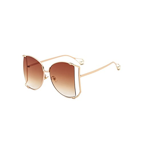 WeiMay Gafas de Sol Multicolor Metal Hollow Gafas de Sol Grandes Caja Adecuado para Mujer Verano Temporada Diario Parte, marrón, 6 * 6.3 * 13.5cm