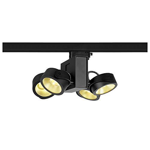 SLV 3 Phasen System Leuchte TEC KALU quad / LED 3-Phasen-Strahler, Spot, Decken-Strahler, Decken-Leuchte, Schienensystem, Innen-Beleuchtung / 3000K 60.0W 3800lm schwarz dimmbar