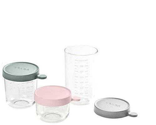 BÉABA Tarros de Conservación para Bebé, Tupper en Cristal, Resistente al calor, Recipientes para guardar la comida de Bebé, Con indicador de cantidad, 150ml + 250ml + 400ml, Rosa/Verde