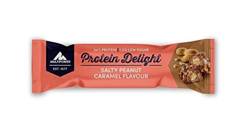 Multipower Protein Delight Eiweißriegel – 18 x 35 g Protein Riegel Box (630 g) – Leckerer Energieriegel – Salty Peanut Caramel