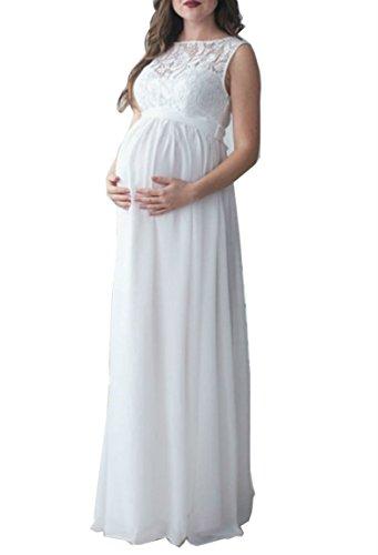 D-Pink Umstandsmode Maxi Spitzenkleid Chiffon Party Umstandskleid (XL/42, Weiß)