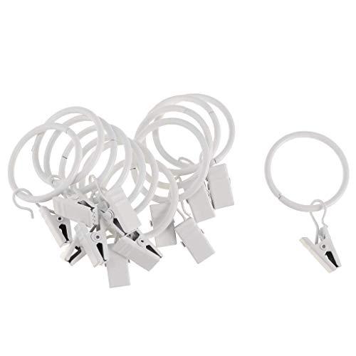 Gardinenringe mit Clips, 25 mm / 32 mm Durchmesser, weißes Porzellan, 32 mm, 12 Stück 25 mm White Porcelain,