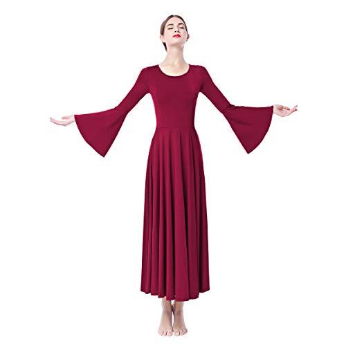 OBEEII Donna Vestito Liturgico Manica Lunga Abito da Balletto Ginnastica Body Classico Danza Combinazione Chiesa Preghiera Coro Costume Rosso Scuro M