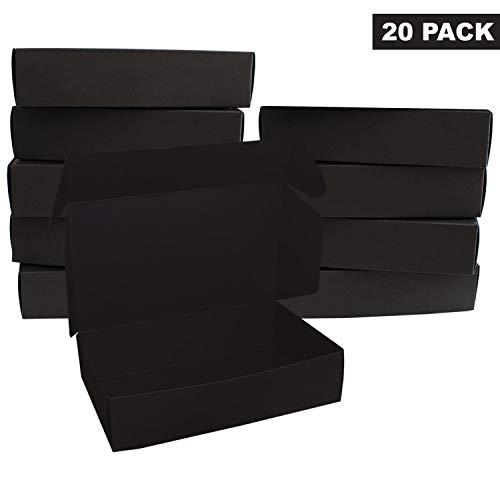 Zwart Kartonnen Dozen (20 Stuks) - Kado Dozen (19 x 11 x 4.5cm) – Plat Verpakte Presentatie Dozen – Opslag Doos Voor Chocolades, Kado en Sieraden – Feest, Festivals en Bruiloften