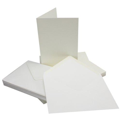 DIN B6 Faltkarten Set mit Umschlägen - Naturweiss - 50 Sets - 115 x 170 mm - ideal für Einladungskarten, Hochzeit, Taufe, Kommunion, Konfirmation - formstabil - Marke: FarbenFroh®