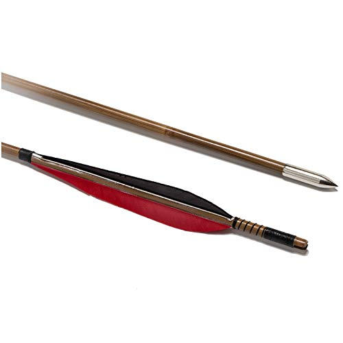 YC° Arco Hecho a Mano Tradicional Bambú Pavo Turquía Caza de Flechas para recurve Long Bows de Caza de la Caza de la práctica (Paquete de 4)