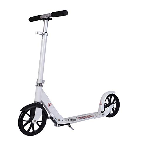 Adult Scooter, 200 mm PU Big Wheel Kick Scooter, Young Adult Scooter mit Fußbremse , Stilvoller, zusammenklappbarer Pendler-Scooter, 82-97 cm, einstellbare Höhe, Last 100 kg (nicht elektrisch) weiß