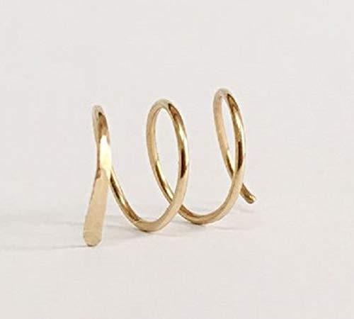 FloweRainboW Creolen Ohrringe - Spiral Ohr Piercing 14K Gold Filled/Sterling Silber 925 - Kleine Ohr Kletterer Gehämmert