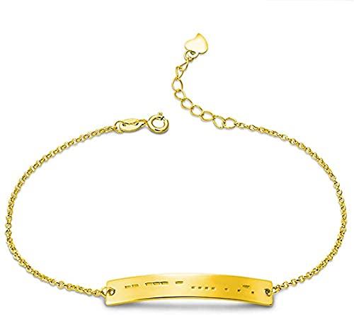 925 Sterling Silber YCHZX Halskette Personalisierte Maßgeschneiderte Armband 925 Sterling Silber Geschnitzte Bar Armband Damen Männer Mütter Geschenke Gold
