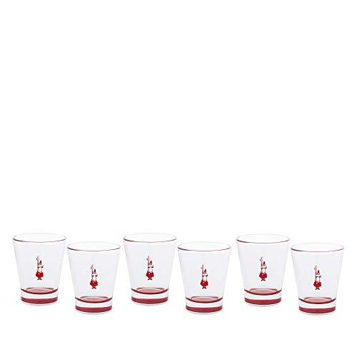 Bialetti DCRAST0010 Set 6 Bicchierini in Vetro, Trasparente/Rosso