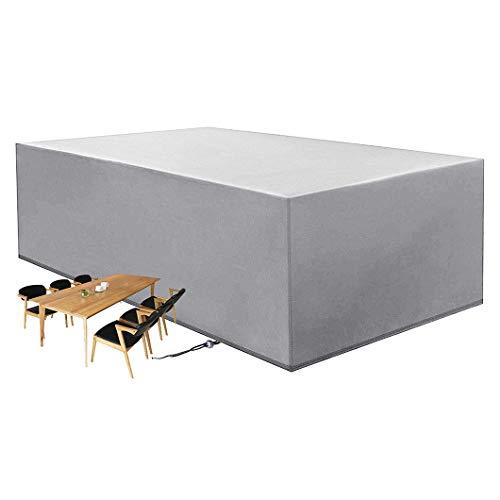 CTTAO Conjuntos de Muebles 200x160x70cm Resistente al Desgarro Anti Viento/UV, Muebles de jardín Funda Rectangular, para Muebles, Mesas y Sillas al Aire Libre, Sofás Exterior, Plata