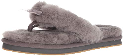 UGG Female Fluff Flip Flop III Slipper, Grey, 6 (UK)