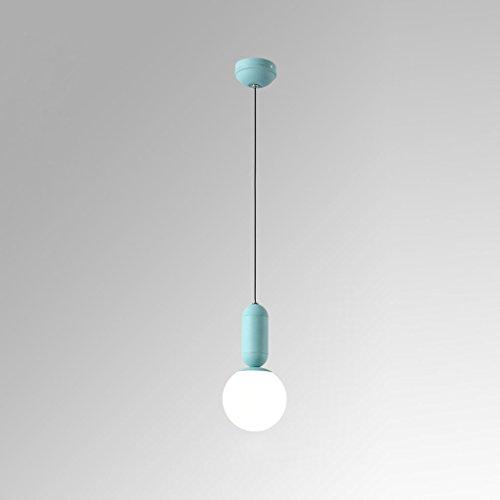 Lustre minimaliste moderne de lustre en verre blanc de lustres de Macarons de 12cm * 29cm E27 (Couleur : Bleu)