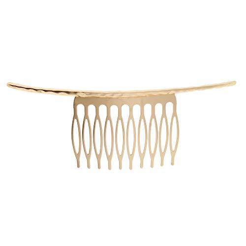 Bonarty Gold Silver10 Zähne Haarkämme Clips Leer Für DIY Braut Haarschmuck Geschenk - Gold
