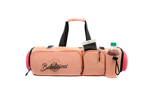 Babelicious All in one Yoga Mat Bag with Pockets Fit Most Mats Size, Pilates, Gym, Compartments for Clothes and accesories (Peach)