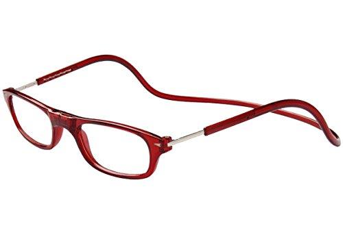 TBOC Lesebrille Lesehilfe für Herren und Damen – Dioptrien +4.00 Bordeaux Fassung Brillen mit Stärke Faltbare Einstellbare Trend Frau Mann Senior Magnetverschluss Clip Alterssichtigkeit Presbyopie