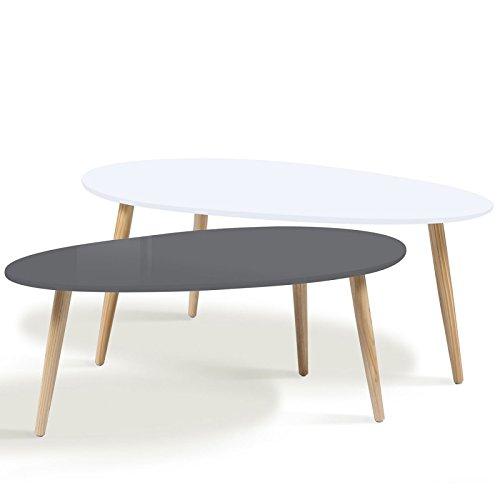 IDMarket - Lot de 2 Tables Basses gigognes laquées PM Gris GM Blanc scandinave