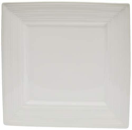 Better & Best P Grande Bandeja de porcelana, blanca, cuadrada con borde escalera lisa, medidas 25,5x25,5x3 cm, Ceramica