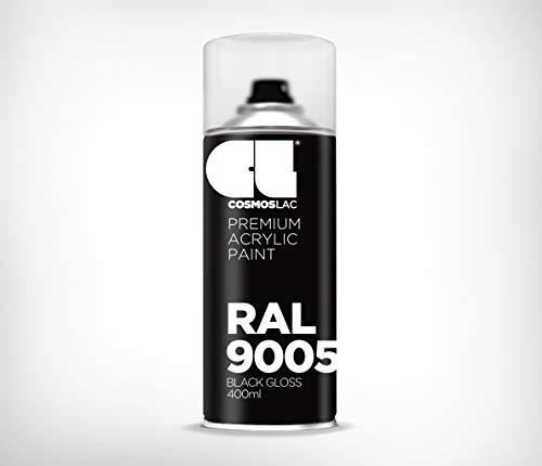 Cosmos LAC Acryllack Sprühdose, glänzend - Sprühlack Farbspray DIY Lackspray Sprühfarbe Sprühdose (RAL 9005 - schwarz glänzend)