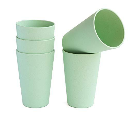 JUCOXO - Juego de 5 vasos de paja de trigo irrompibles reutilizables sin BPA, vasos ligeros, aptos para lavavajillas