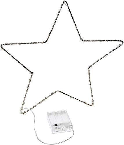 Jandei - Luz Decorativa De Navidad Forma Estrella Alambre Dorado 30CM con LED Lenteja Luz Blanca Cálida 3000K Funciona con 3 Pilas AA
