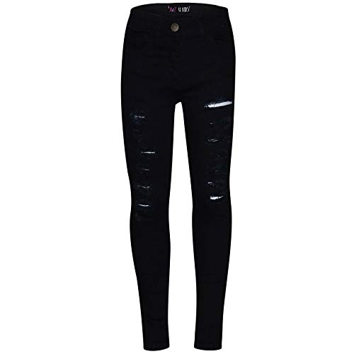 A2Z 4 Kids® Kinder Mädchen Dünn Jeans Jet Schwarz Designer - Girls Jeans M617 Jet Black_9-10