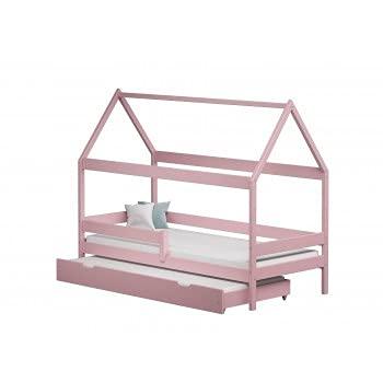 Children's Beds Home - Cama individual en forma de casa con nido - Betty - Colchón de espuma de 180x80, rosa, 9 cm