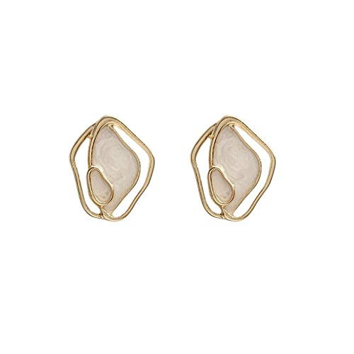 Xi-Link S925 Silver Needle Korean Temperament Simple Geometric Seashell Earrings Wild Earrings Ear Clips (Color : Ear Studs)