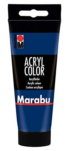 Marabu 12010050053 - Acryl Color dunkelblau 100 ml, cremige Acrylfarbe auf Wasserbasis, schnell trocknend, lichtecht, wasserfest, zum Auftragen mit Pinsel und Schwamm auf Leinwand, Papier und Holz