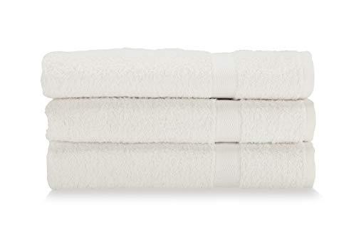 Gabel Asciugamani Viso, Spugna di Puro Cotone Idrofilo, 60 x 100 cm, Bianco, Set da 3 Pezzi
