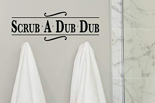 Calcomanías de pared de baño de PVC para baño con texto en inglés 'Scrub a Dub Dub Dub Dub'