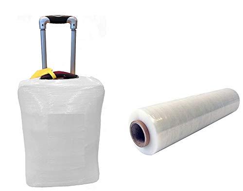 Film étirable pour bagage valise emballage BLANC OPAQUE 450 mm x 270 mètres film protecteur extensible manuel pour sécuriser valises et bagages film plastique antivol film protection valise bagage