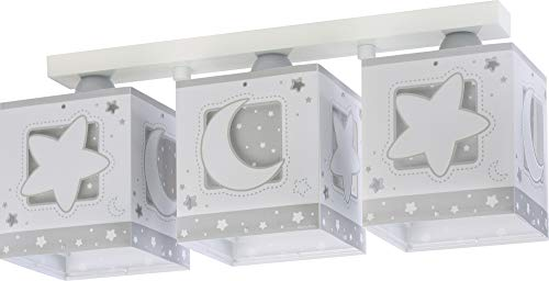 Dalber Lámpara Infantil Plafón Techo 3 Luces Moon Light Gris, 60 W