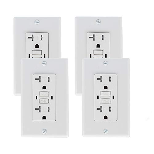SZICT 20A GFCI Outlet Tamper-Resistant (TR) GFI Duplex Receptacle with 2 LED Indicators UL Listed Auto-Test Ground Fault Circuit Interrupter with Decor Wall Plate 4 Pack