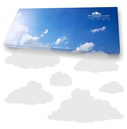 imaggge.com - Pegatinas anticolisión para puertas de cristal (nubes) – Evita los golpes de pájaros o golpes de personas en los cristales, vinilo, Dépoli - Sablé, Nuages Modèle 2 (Sablé dépoli)