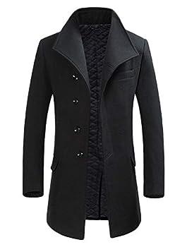 Mordenmiss Men s Wool Trench Coat Single Breasted Windproof Lapel Collar Jacket Topcoat Black Fleece,L