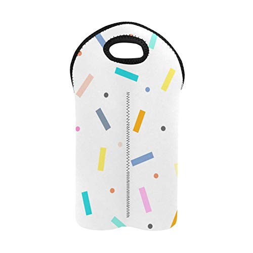 Picknick-Einkaufstasche Süße bunte Konfetti-Streusel Schnaps-Tragetasche Doppelte Flasche Tragetasche Tote Dicke Neopren Weinflaschenhalter hält Flaschen geschützt