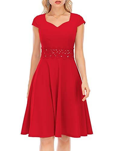 Bbonlinedress Vintage Cocktailkleid Abendkleid Kurzarm V-Ausschnitt Kleid Kleider Sommerrock Sommerkleid Knielang Rot Partykleid Red S