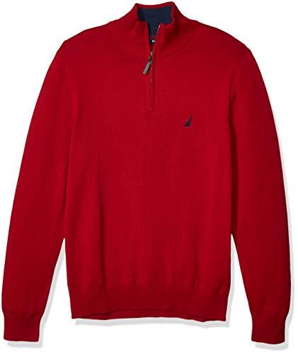 Nautica Men's Classic Fit Quarter Zip Sweater, Red, XX-Large