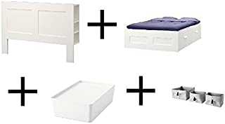 Ikea Headboard with Storage Compartment, White, Bed Frame with Storage, White, Box with lid, White Basket, Set of 3, Gray